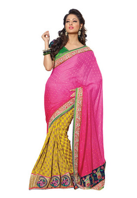 Fabdeal Pink Colored Faux Georgette Jacquard Embroidered Saree