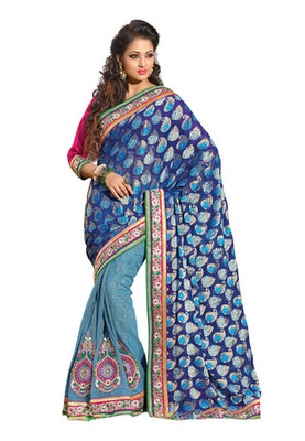 Fabdeal Blue Colored Viscose Jacquard Embroidered Saree