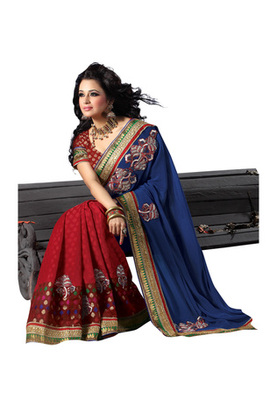 Fabdeal Blue Colored Chiffon Embroidered Saree