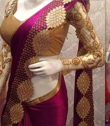 Buy dark pink embroidered nylon saree With Blouse women-ethnic-wear online