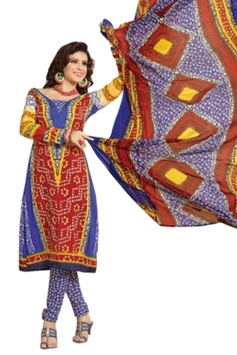 Triveni Pleasing Synthetic Cotton Multi Colored Indian Ethnic Salwar Kameez