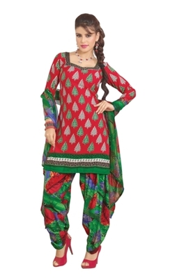Triveni Pleasing Synthetic Cotton Red Colored Indian Ethnic Salwar Kameez