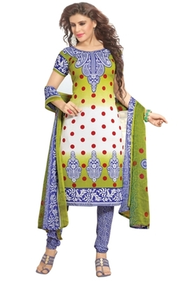 Triveni Pleasing Synthetic Cotton Green Colored Indian Ethnic Salwar Kameez