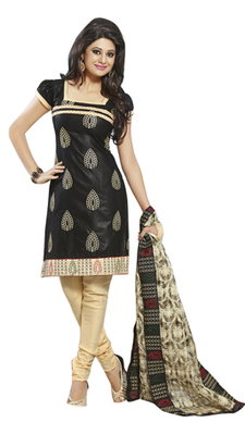 Triveni Striking Black Colored Comfortable Cotton Indian Designer Salwar Kameez