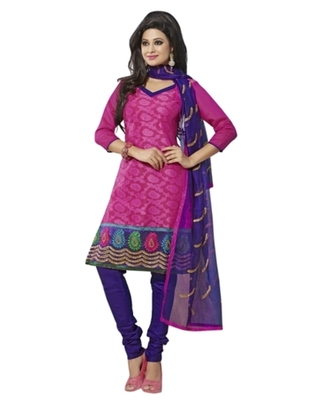 Triveni Striking Magenta Color Comfortable Cotton Indian Designer Salwar Kameez
