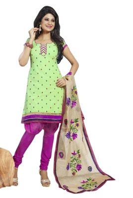 Triveni Striking Green Colored Comfortable Cotton Indian Designer Salwar Kameez