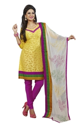 Triveni Striking Yellow Colored Comfortable Cotton Indian Designer Salwar Kameez