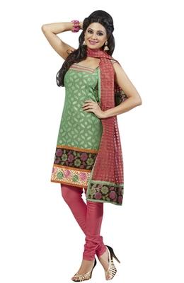 Triveni Striking Green Colored Comfortable Cotton Indian Designer Salwar Kameez