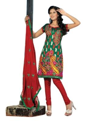 Triveni Pleasing Green Embroidered Casual Salwar Kameez TSRCSK04