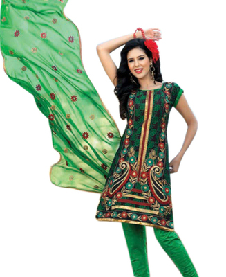 Triveni Striking Green Embroidered Casual Salwar Kameez TSRCSK10