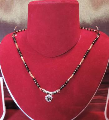 Black Gold Diamante Pendant Thick Chain Mangalsutra
