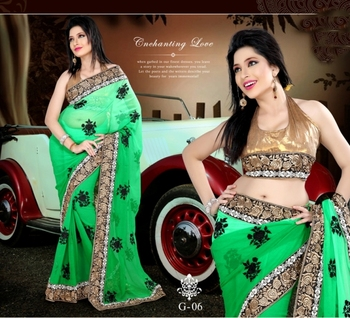 Georgette Saree In Double Shades