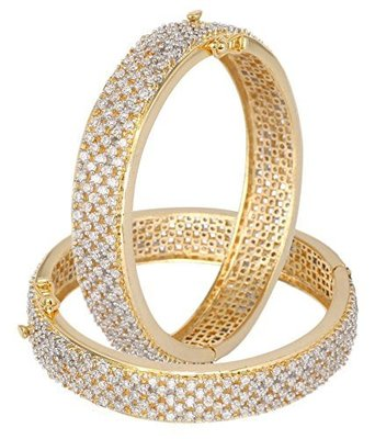 Cubic zirconia gold bangles and bracelets
