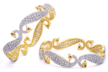 M Creation  Beautiful CZ Studded Gold Plated Bangles Set for Women