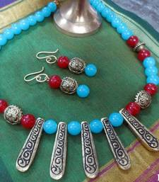 Buy 5Brass_Pipe_Blue_Red_Set Necklace online