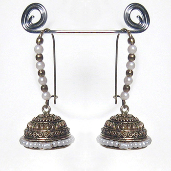White Bead Antique Jhumkas