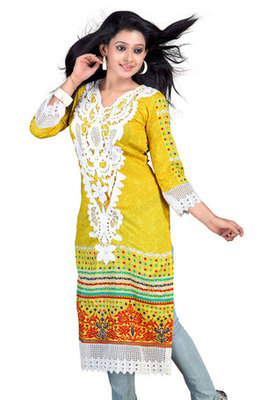 Yellow Pure Cotton Printed Kurta