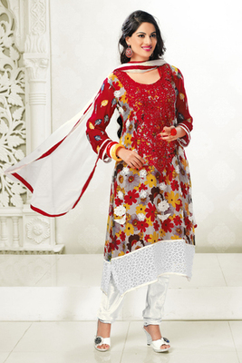 Attractive Red Chiffon Salwar Kameez Showing Embroidery and Stone Work