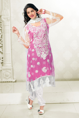 Lovely Pink and White Chiffon Salwar Kameez Decorated with Embroidery and Stone Work