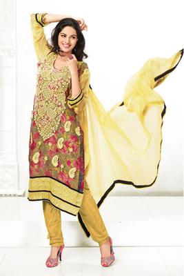 Brown and Yellow Chiffon Printed Salwar Kameez