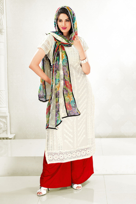 Charming Cream Cotton Salwar Kameez with Printed Chiffon Dupatta
