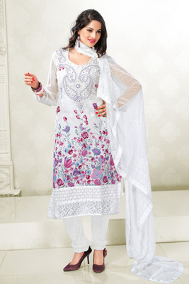 Attractive White Cotton Printed Salwar Kameez Showing Embroidery work