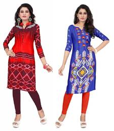 Buy Multicolor crepe printed semi stitched kurti plus-size-kurti online