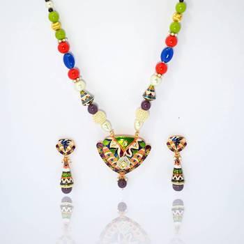 Meenakari Heart Pendant Necklace Green Violet