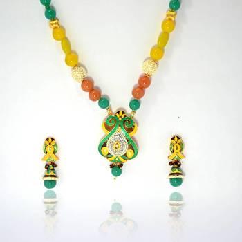 Meenakari Floral Pendant Necklace Yellow Green Brown