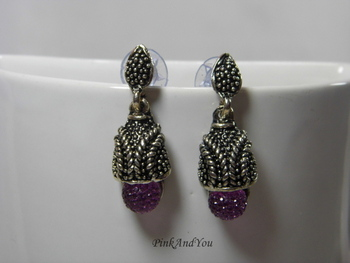 Purple Jelly ball Oxidised Earrings