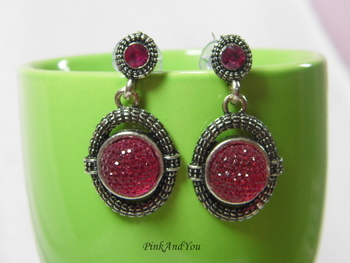 Magenta colour Jelly ball Oxidized Earrings
