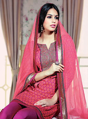 Hypnotex Cotton Pink Dress Materials  Gngotri 2401