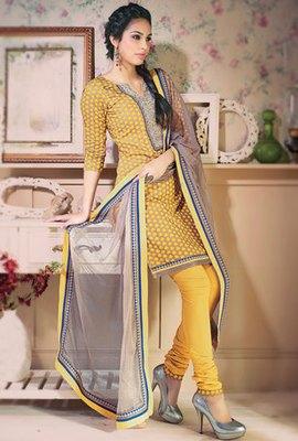 Hypnotex Cotton Yellow Dress Materials  Gngotri 2403