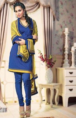 Hypnotex Cotton Blue Dress Materials  Gngotri 2405