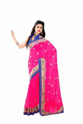 Pink and blue color chiffon saree