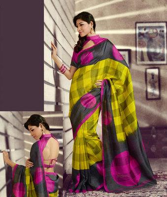 Hypnotex Art Silk Yellow+Black Saree Thirteenhits 9238
