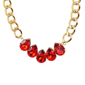 Red Amethyst Stone Statement Necklace