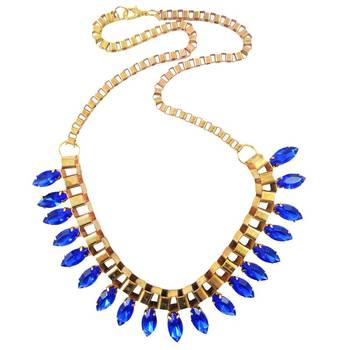 DIOVANNI Crystal Sapphire Golden Girl Statement Necklace