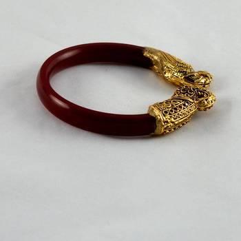Stylish stretchable bangles 21cut kara  colour red