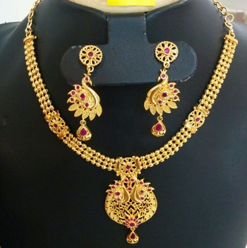 Georgeous Gold Plated Peacock Necklace Set