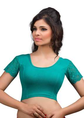 Rama And Green Cotton Lycra  Readymade Blouse