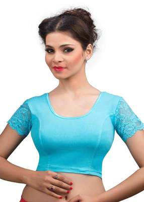 dba5866c3e496 Sky and blue cotton lycra readymade blouse - muhenera s - 1365773