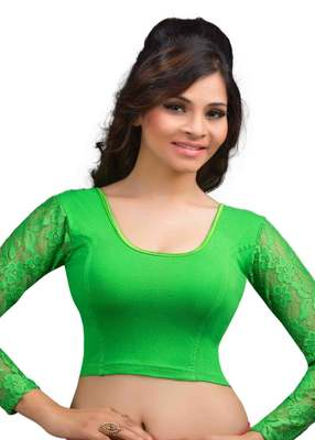 Parrot And Green Cotton Lycra  Readymade Blouse
