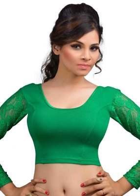 Green Cotton Lycra  Readymade Blouse