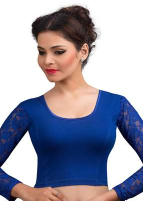 Royal And Blue Cotton Lycra  Readymade Blouse