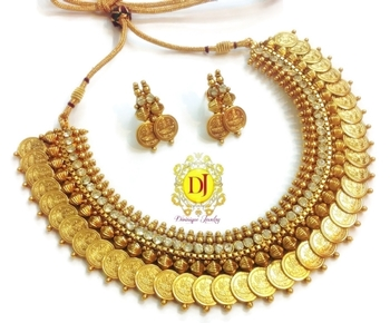 Temple jewellery coin necklace set..cubic zircon studded