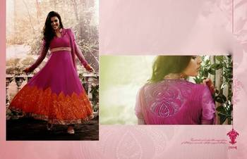 Designer Pink and Orange Anarkali Dress 1014