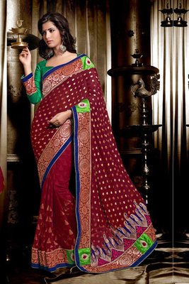 Beautiful Zari and Resham and Stone worked Georgette Viscose Saree