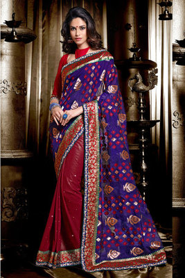 Blue and Maroon Georgette Jacquard Saree