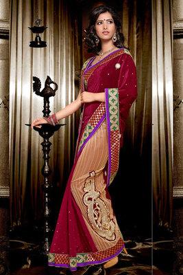 This a Beautiful Velvet Saree Showing Stone Zari and Resham Work